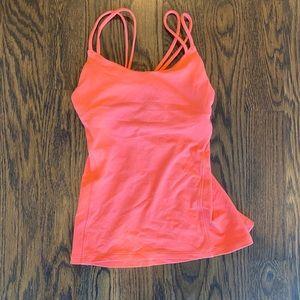 orange braided back built in sports bra top